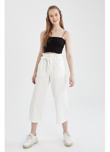 DeFacto Paperbag Fit Kuşaklı Culotte Pantolon Beyaz